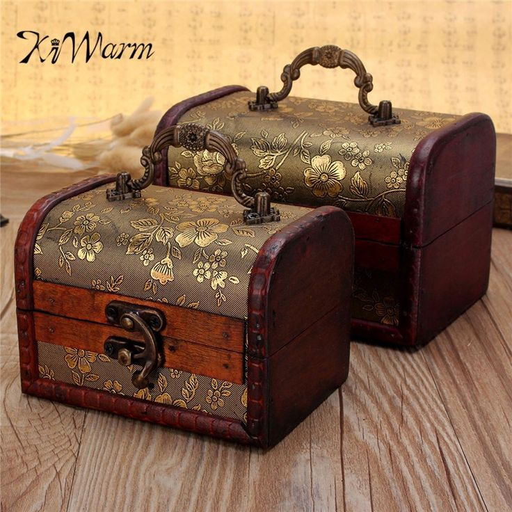 KiWarm Portable Small Wooden Vintage Flower Pattern Treasure Pearl Jewelry Storage Box Case Organiser Ring Suitcase With Lock