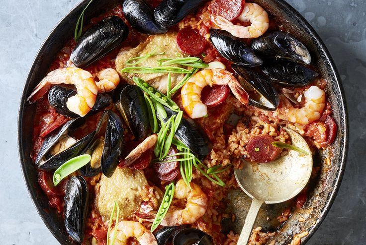 Easy Chorizo, Chicken, and Shellfish Paella real simple.com
