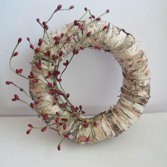 8'' Birch bark wreath, front door wreath, home decor, wall art on Etsy, $36.00