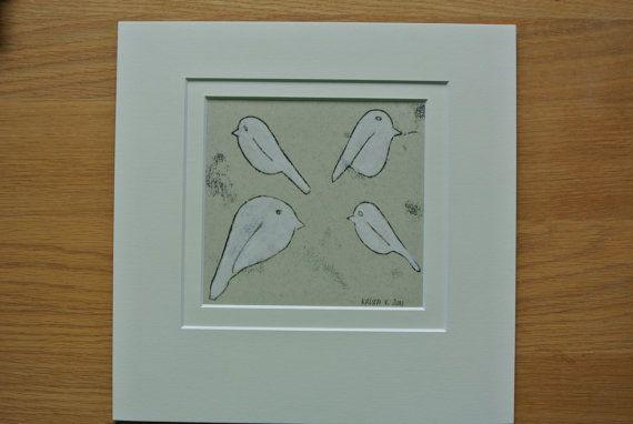 Monotype 'Vier vogeltjes' unieke druk inkt gesso door Kriskroskras
