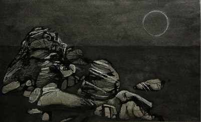 Meoto Iwa: Ink and Pastel on Paper