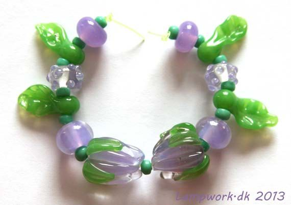 Handmade lampwork beads purple rose by LampworkDK on Etsy