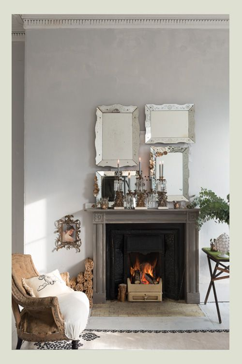 @Holly Becker's fireplace (and seating area) is so warm and home-y. What a peaceful space! /ES
