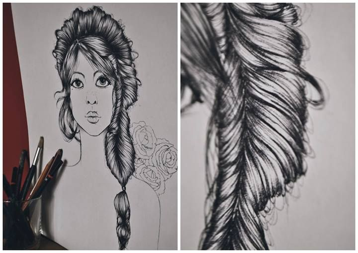 Rosie girl drawing with detailed hair by Olenka more here: https://www.facebook.com/pages/Olenka/647167888679052