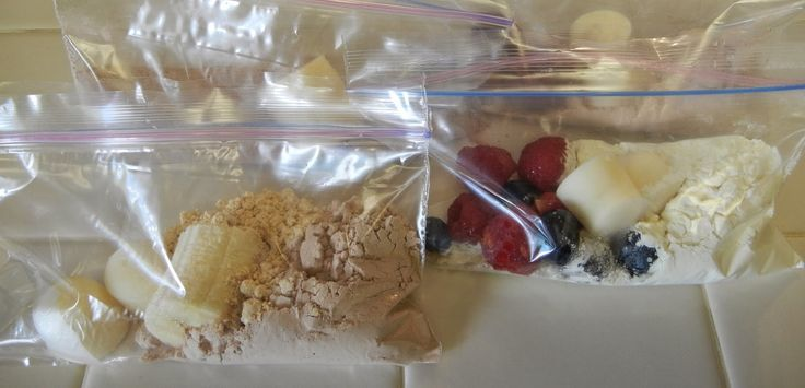 Premade Protein Shake packets. Put ingredients in a snack size zip lock and throw in freezer.  When it's time to make dump in blender and add milk.