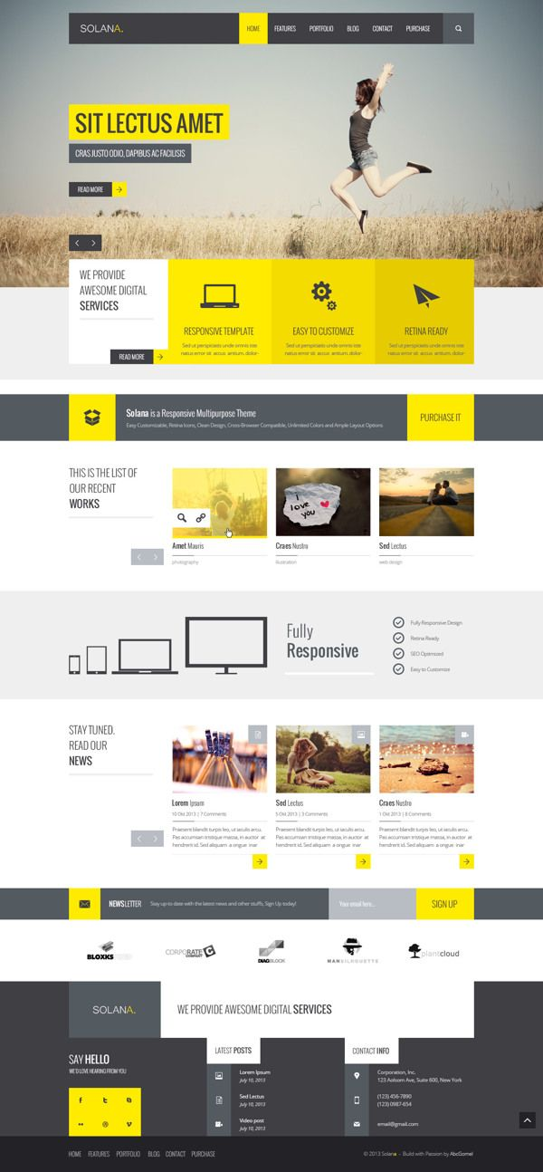 Solana – Multipurpose PSD Template by Vladimir Azarushkin, via Behance