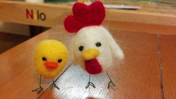 This cute little mommy and baby chicken are needle felted by hand using 100% pure mohair wool with a wire structure. Each sculputure is hand-made and will be just a little different. They make a great decoration for your desk or home!   ***PLEASE NOTE*** Needle Felted Love is no longer able to guarantee delivery by Christmas due to the overwhelming number of orders recently. I appreciate your support of small business! Please contact me to inquire about current expected delivery dates.
