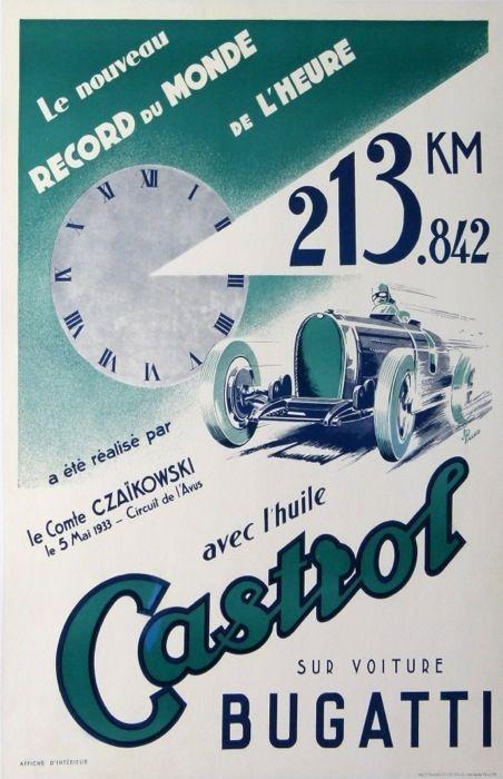 ... de l'Heure 213.842 Km a été réalisé par le Comte Czaïkowski le 5 Mai 1933 - Circuit de l'Avus avec l'huile Castrol sur voiture Bugatti