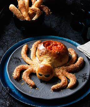 Love this!! Spider Bread Loaf with carved out dip bowl and Hairy Legs ...