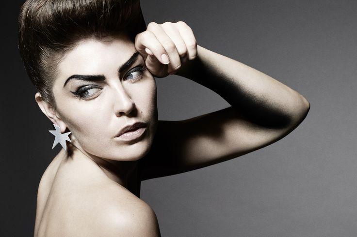 Janni Krogh Jewellery. Oxidized silver star earrings