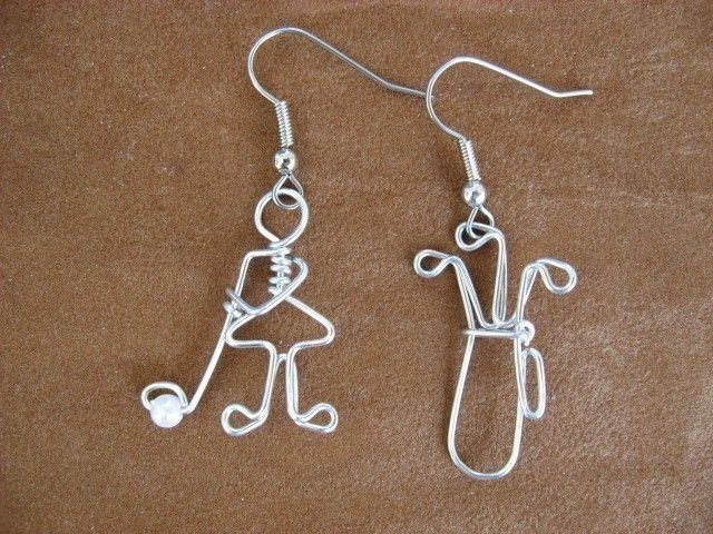 GOLFING LADY EARRINGS wire wrapped. $14.00, via Etsy.