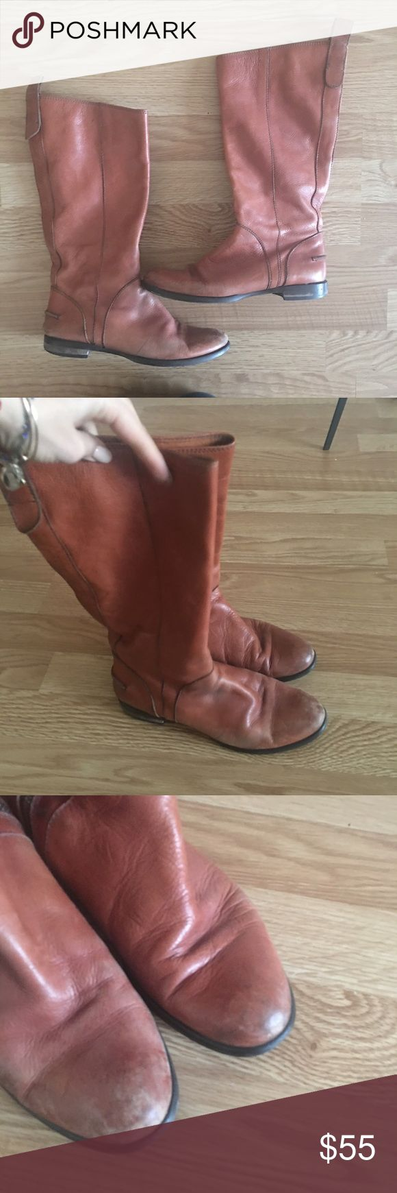 Madewell riding boots Tan leather boots , inner zip . In good condition. No trades. Madewell Shoes Combat & Moto Boots