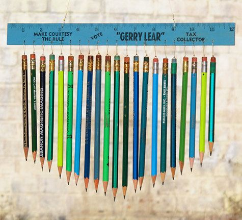 So many pencils come home at the end of the school year.  This is a great idea for repurposing them.  And, bonus!, it's easy enough and would be cute in a child's bedroom.