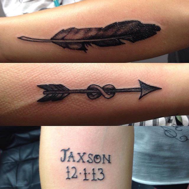 #mulpix #tattoo #tattoos #ink #girl #girly #hot #feather #arrow #infinity #shade #script #starkville #vtcms #ty @jojo_jaxsmom