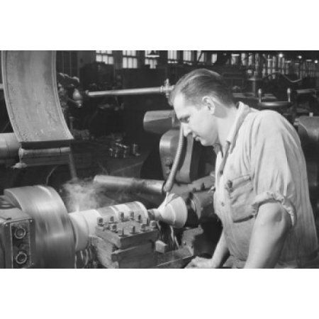 High speed turning on a turret lathe Worthington Pump & Machinery Corp Harrison New Jersey Canvas Art - (24 x 36)