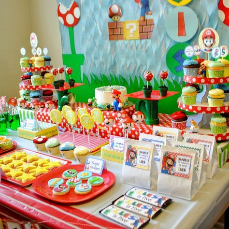 super mario birthday party ideas | How gorgeous is this desserts table?