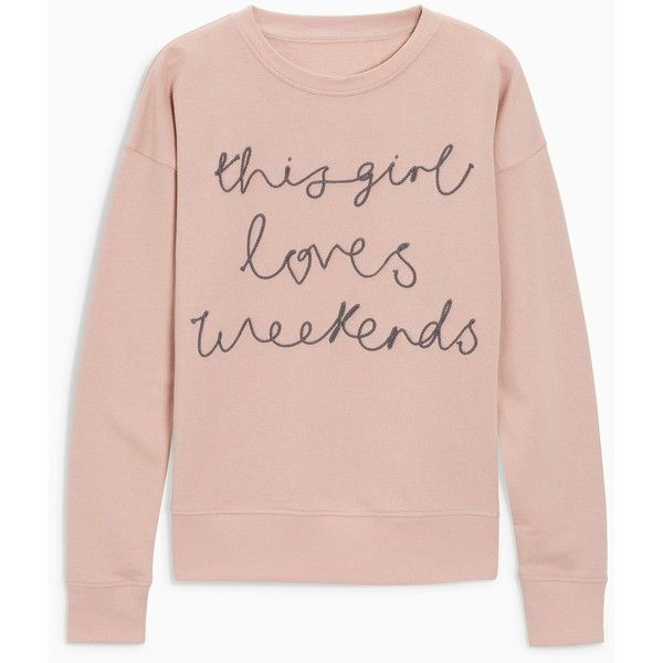 Pink Embroidered This Girl Loves Weekends Sweat Top ($16) ❤ liked on Polyvore featuring tops, hoodies, sweatshirts, pink sweatshirts, embroidery top, embroidered top, pink top and embroidered sweatshirts