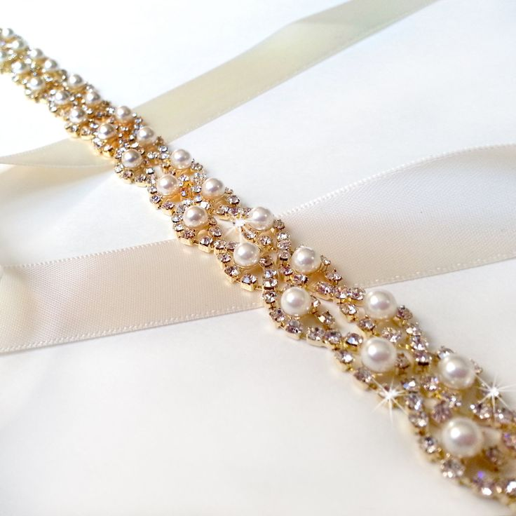 Crystal Pearl Weave Bridal Belt Sash In GOLD