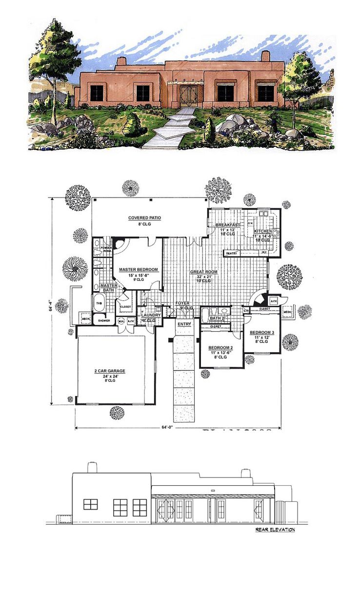 Santa Fe House Plan 54611 | Total Living Area: 2008 sq. ft., 3 bedrooms and 2 bathrooms. #houseplan #santafestyle