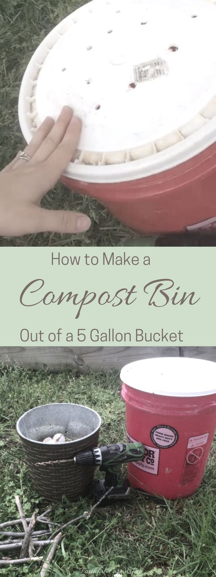 Composting is a great way to dispose of food scraps & fertilize your garden for free! Learn how to make a simple compost bin with a 5 gallon bucket.