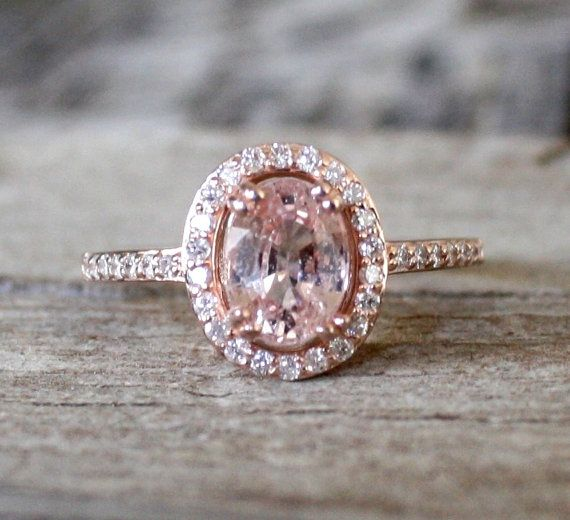 ON HOLD 1 70 Cts Peach Pink Sapphire Diamond Halo Ring in 14K Rose Gold