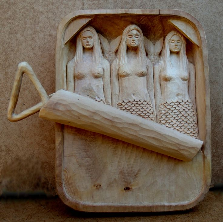 """Mermaids in a Can"" Carved from Huon Pine (a Tasmanian wood)"