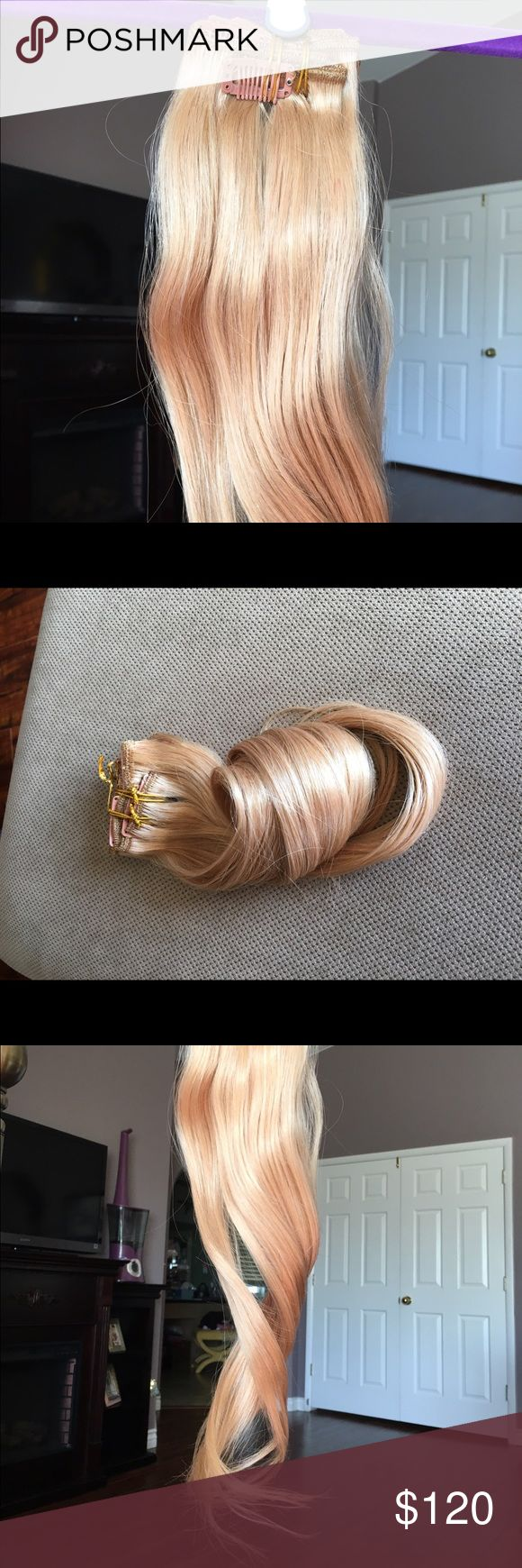 """Strawberry Blonde Clip in Remy Hair Extensions Bring life to your hair with this beautiful authentic Hair. They are made from 100% Remy hair and are 20"""" long. Accessories Hair Accessories"""
