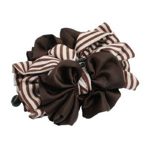 "Rosallini Stripes Double Side Polyester Bowknot Banana Hair Clip Barrette Dark Brown by Rosallini. $4.88. Pakcage Content : 1 x Banana Hair Clip. Net Weight : 35g. Total Length(Closed) : 12cm/ 4.7"". Product Name : Banana Hair Clip;Material : Plastic, Polyester. Main Color : Dark Brown, Black, Off White;Bow Size : 11 x 10cm/ 4.3"" x 3.9""(L*W). Banana style hair barrette with leopard pattern organza flower accent, plastic barrette is easy to close and open.Many teeth built in..."