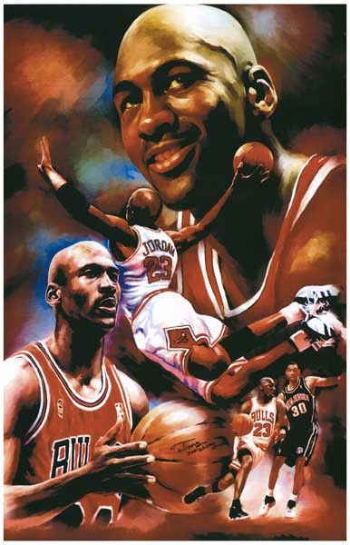 Michael Jordan Art Collage Chicago Bulls Basketball Poster 11x17