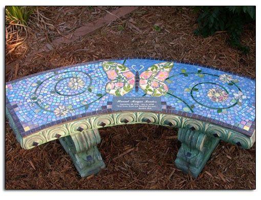 mosaic stone benches