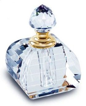 Lovely Blue Glass Perfume Bottle with Gold Neck