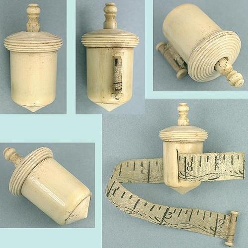 Antique English Carved Bone Acorn Tape Measure; Circa 1820