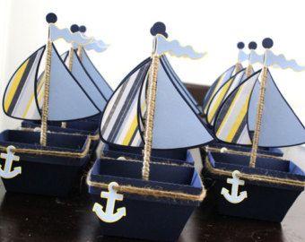 Chica barco náutica Favor Box tratar caja por PaperletteDesigns