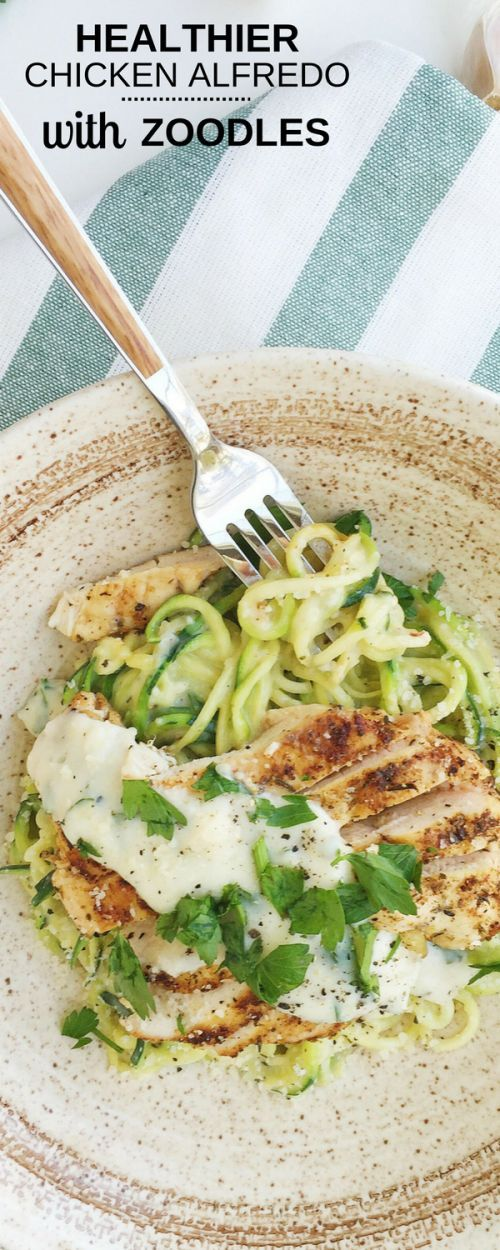 This lightened up Healthier Chicken Alfredo gets a healthy make-over; made with nutritious zucchini noodles, a lighter, cheesy Alfredo sauce, and plenty of herbs and spices. It's decadent, delicious, and healthy.