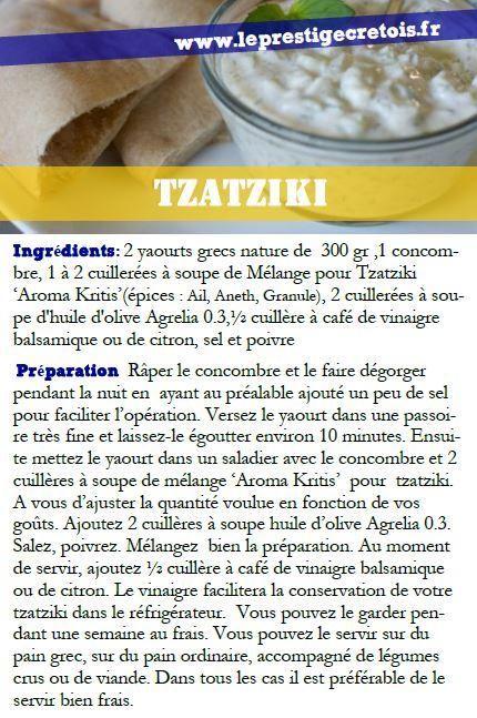 Tzatziki (Sauce au yogourt et au concombre) Recettes ...Mélange d'épices TZATZIKI 75gr Aroma Kritis