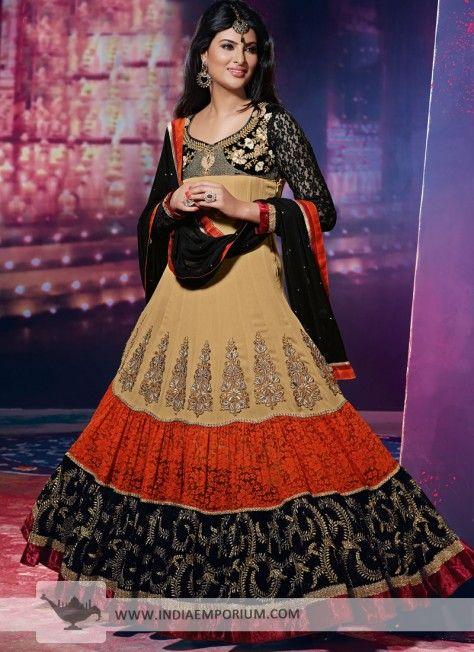Elegant Black & Beige #Anarkali Salwar Kameez  #AnarkaliSuit  #Suit