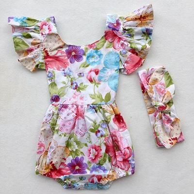 6ef7c57806b1 Stella Baby girls Boho tassel bubble romper with vintage floral print and matching  headband Item Type  Bodysuits