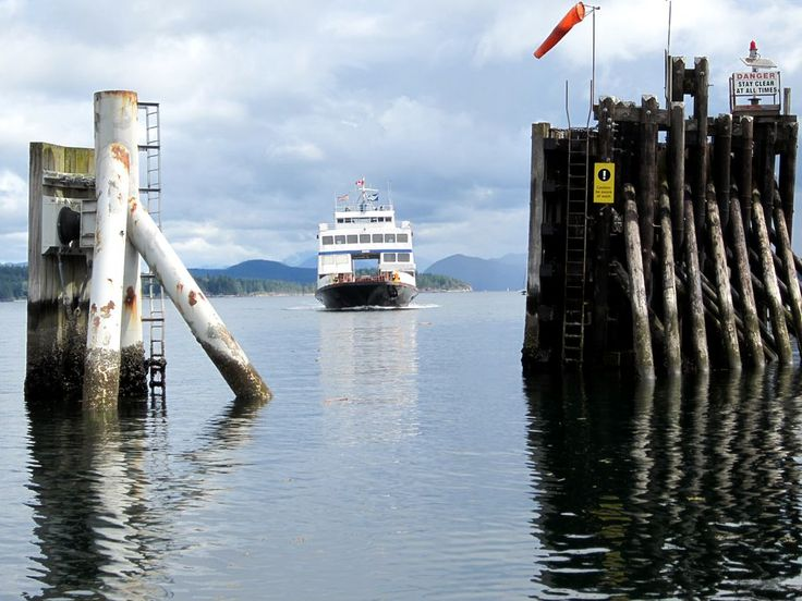 A ferry from Cortes Island arriving at the Heriot Bay Terminal on Quadra Island, British Columbia, Canada.