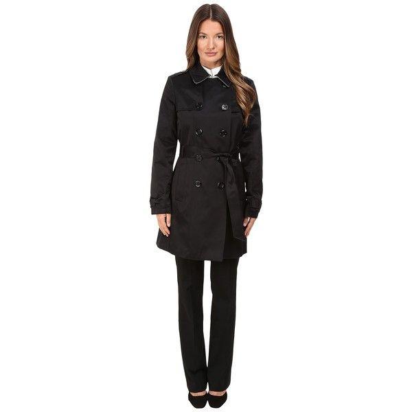 Kate Spade New York Waist Belt Raincoat 34 (Black/Loden) Women's Coat ($288) ❤ liked on Polyvore featuring outerwear, coats, waist belt, rain coat, mac coat, wind jacket and windbreaker jacket