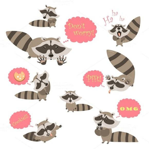 Collection of funny raccoons by masastarus on @creativemarket