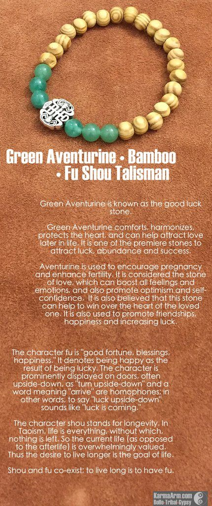 FU SHOU: Green Aventurine • Bamboo Yoga Mala Bead Bracelet - Karma Arm