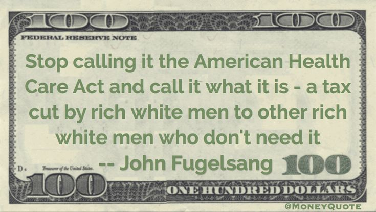 John Fugelsang Money Quote saying that tax cuts to rich white guys is being disguised as healthcare reform with a misleading title designed for public consumption