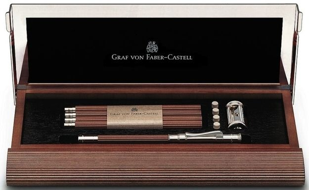 Graf von Faber-Castell presents the Excellence pencil: platinum cap with integrated sharpener, and platinum tip for five pencils made of pink Californian cedarwood.