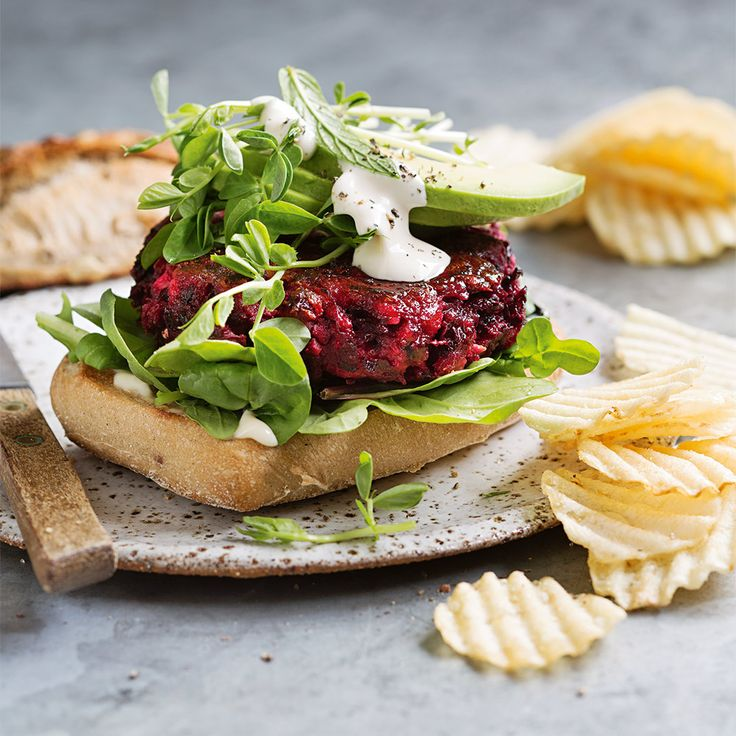 Fancy a burger without the guilt? Try our delicious Beetroot, Bean & Feta Burger! #Beetroot #Bean #Feta #Burger #HamburgerMonth