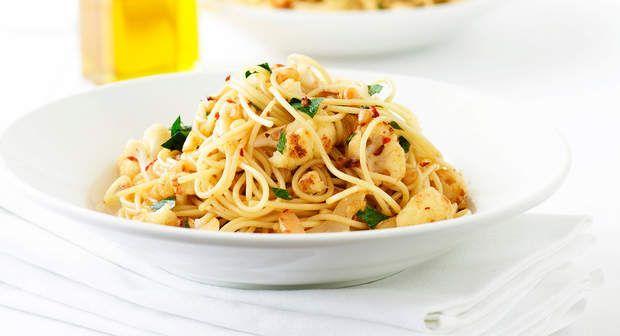 Spaghettis au chou-fleur sauté et à l'ailVoir la recette des Spaghettis au chou-fleur sauté et à l'ail >>