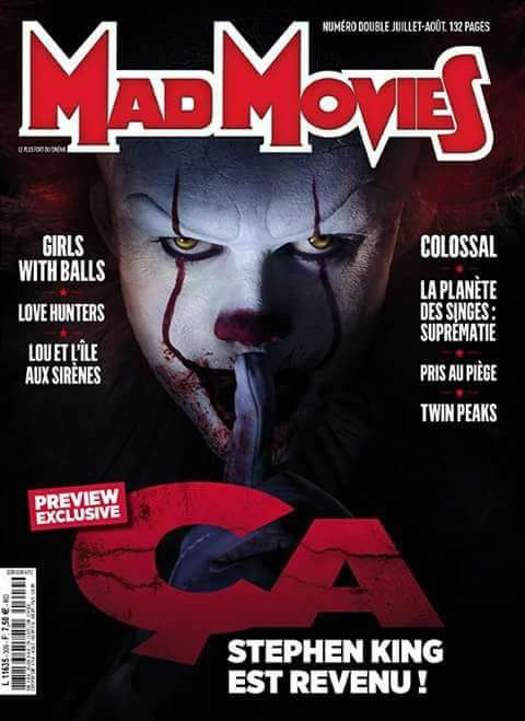 Magazine cover with a new picture of Pennywise the clown in It (2017)