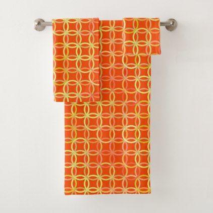 Mid-Century Modern circles mandarin orange Bath Towel Set - modern gifts cyo gift ideas personalize