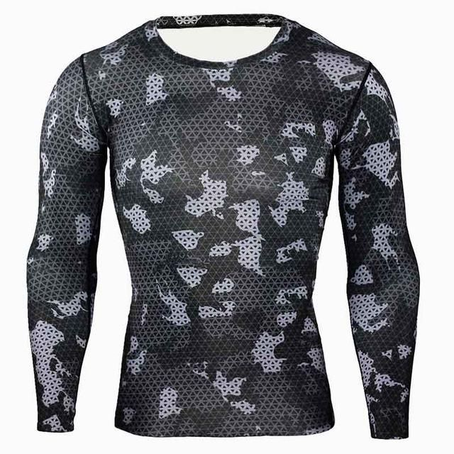 Men/'s T shirts Compression Crossfit Long Sleeve Camouflage Fitness Base Layer
