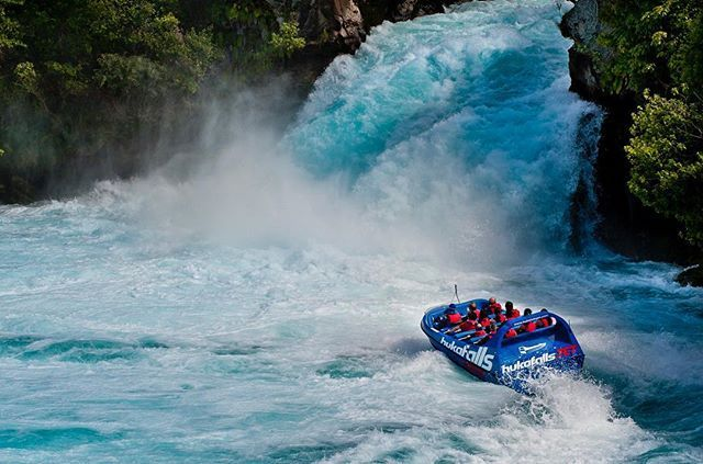 Beautiful Huka Falls - the most visited natural attraction in New Zealand. You can get up close and personal to it with @hukafallsjet. This thrilling jet boat ride combines 360° spins, disorientating speeds and the stunning scenery of the Waikato River. #NewZealand #adventure #travel #justgo