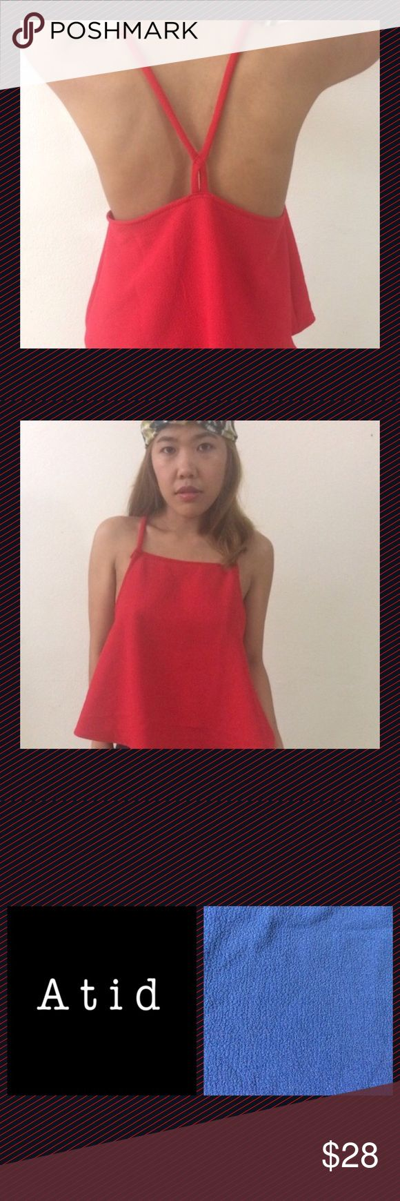 Atid Clothing's 'Dream Top' in Ava Red❤️ A fun t-strap tank, in a great fabric that's waffled (blue swatch helps to see).  I adore the straight cut in front & the sexy back. Wear sans bra or add a strappy one to add more interest. I chose this piece as my kids convinced me it's now or never for that yoga/Buddhist tat I've been waiting for; symbol for enlightenment 👍🏼, right shoulder. For me summer means red toenails, and I'm a sucker for red lips. Hope you're as enamored. Enjoy!💚💗 Atid…